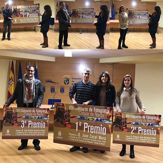 """felicitou no seu nome e no do resto de integrantes do goberno local aos gañadores. A imaxe que obtivo o primeiro premio foi """"Freixeiro Blues"""", realizada por Juan Casal Mera, veciño de Ferrol, que recibirá 750 euros, e o segundo e terceiro premio foron par"""
